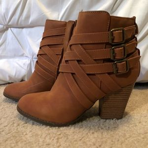 Buckled, Strappy Boots With Heel NWOT